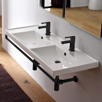 Double Basin Wall Mounted Ceramic Sink With Matte Black Towel Bar