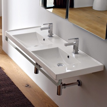Double Basin Wall Mounted Ceramic Sink With Polished Chrome Towel Bar
