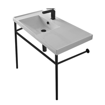 Rectangular Ceramic Console Sink and Matte Black Stand