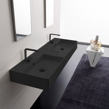 Double Matte Black Ceramic Wall Mounted or Vessel Sink With Couterspace