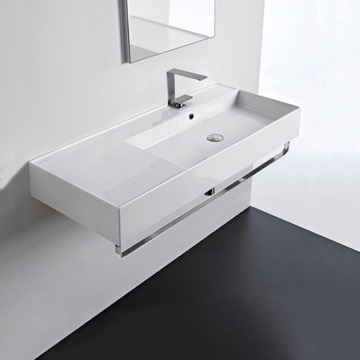 Rectangular Ceramic Wall Mounted Sink With Counter Space, Towel Bar Included