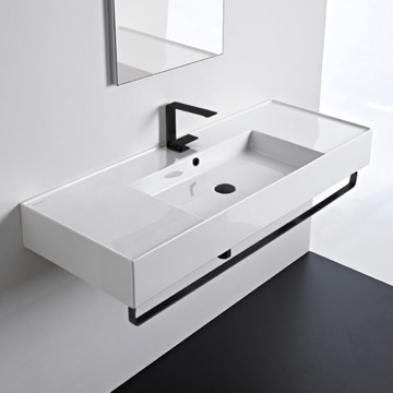 Rectangular Ceramic Wall Mounted Sink With Matte Black Towel Bar