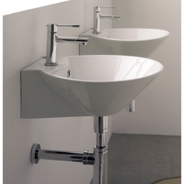 Bathroom Sink Round White Ceramic Wall Mounted or Vessel Sink 8010/R Scarabeo 8010/R