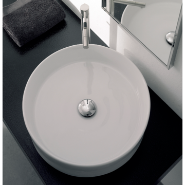 Bathroom Sink Round White Ceramic Vessel Sink 8029 Scarabeo 8029