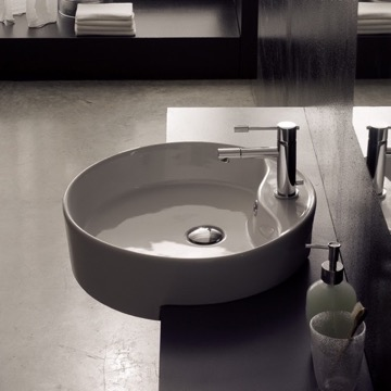 Round White Ceramic Semi-Recessed Sink