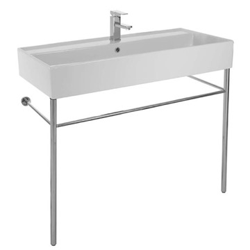 Large Rectangular Ceramic Console Sink and Polished Chrome Stand