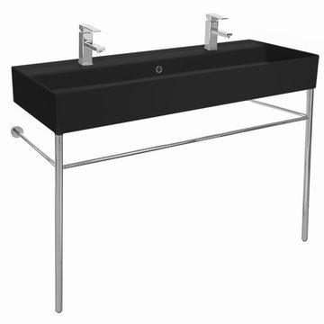 Double Matte Black Ceramic Console Sink and Polished Chrome Stand