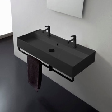 Double Matte Black Wall Mounted Ceramic Sink With Matte Black Towel Bar