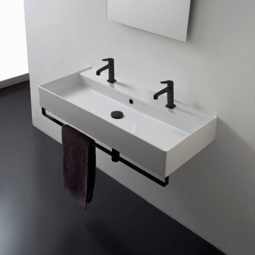 Wall Mounted Double Ceramic Sink With Matte Black Towel Bar