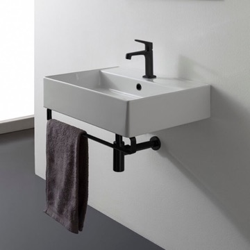 Square Wall Mounted Ceramic Sink With Matte Black Towel Bar
