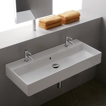 Bathroom Sink Rectangular White Ceramic Wall Mounted or Vessel Sink 8031/R-100 Scarabeo 8031/R-100
