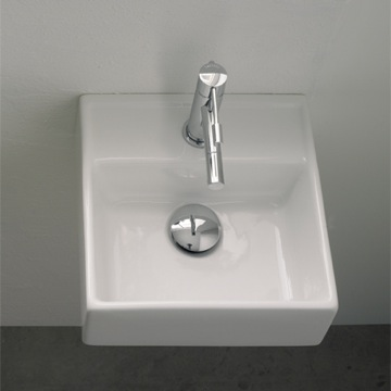 Bathroom Sink Square White Ceramic Wall Mounted or Vessel Sink 8036 Scarabeo 8036