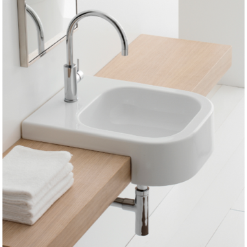 Square White Ceramic Semi-Recessed Sink