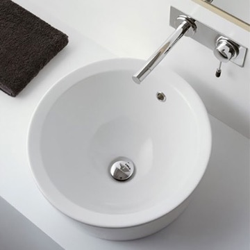 Round White Ceramic Drop In Sink