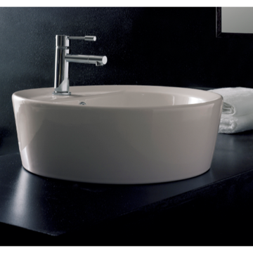 Bathroom Sink Round White Ceramic Built-In Sink 8055/A/R Scarabeo 8055/A/R