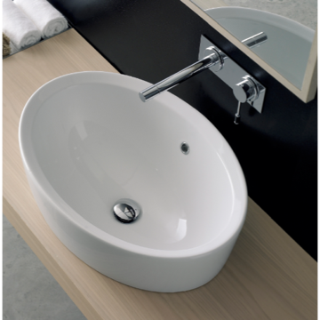 Bathroom Sink Oval-Shaped White Ceramic Built-In Sink 8056/A Scarabeo 8056/A