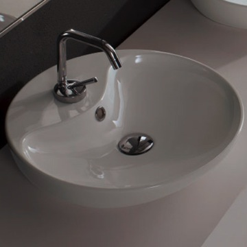 Bathroom Sink Round White Ceramic Vessel Sink 8098 Scarabeo 8098