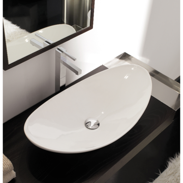 Bathroom Sink Oval-Shaped White Ceramic Vessel Sink 8206 Scarabeo 8206
