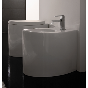 Round White Ceramic Floor Bidet