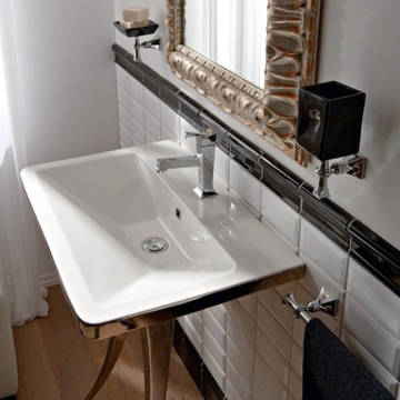Rectangular White Ceramic Wall-Mounted or Vessel Sink