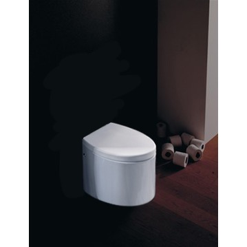 Round White Ceramic Floor Toilet