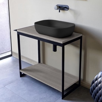 Console Sink Vanity With Matte Black Vessel Sink and Grey Oak Shelf