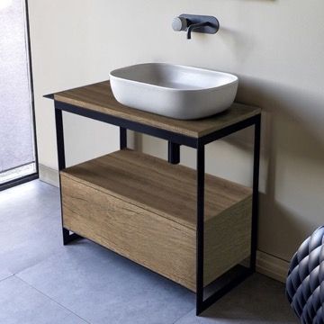Console Sink Vanity With Ceramic Vessel Sink and Natural Brown Oak Drawer