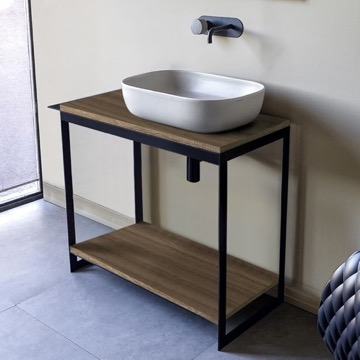 Console Sink Vanity With Ceramic Vessel Sink and Natural Brown Oak Shelf