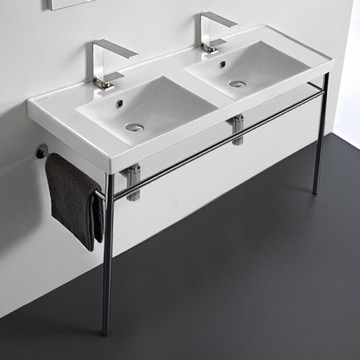 Double Basin Ceramic Console Sink and Polished Chrome Stand