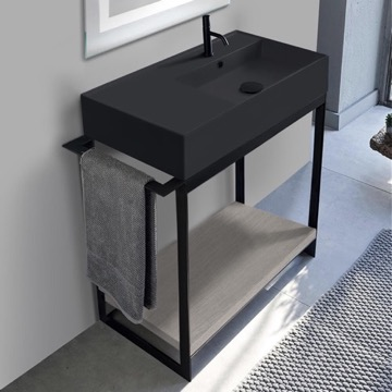 Console Sink Vanity With Matte Black Ceramic Sink and Grey Oak Shelf
