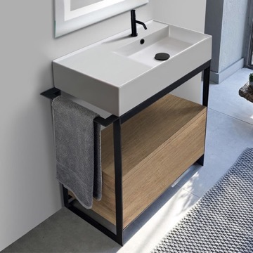 Console Sink Vanity With Ceramic Sink and Natural Brown Oak Drawer