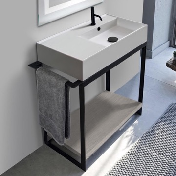 Console Sink Vanity With Ceramic Sink and Grey Oak Shelf