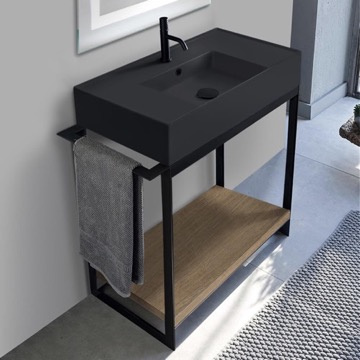 Console Sink Vanity With Matte Black Ceramic Sink and Natural Brown Oak Shelf