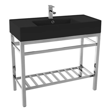 Modern Matte Black Ceramic Console Sink and Polished Chrome Base