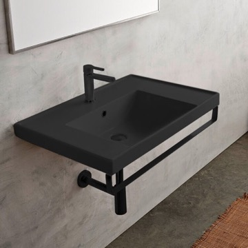 Wall Mounted  Matte Black Ceramic Sink With Matte Black Towel Bar