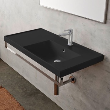 Wall Mounted Matte Black Ceramic Sink With Polished Chrome Towel Bar