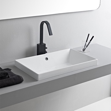 Rectangular White Ceramic Drop In Sink