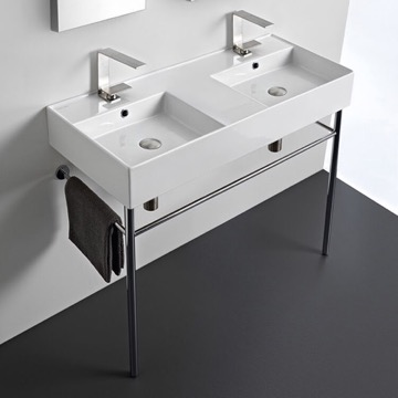 Double Ceramic Console Sink With Polished Chrome Stand