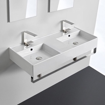 Double Ceramic Wall Mounted Sink With Polished Chrome Towel Holder