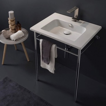 Ceramic Console Sink and Polished Chrome Stand