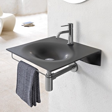 Ultra Thin Matte Black Ceramic Wall Mounted Sink With Chrome Towel Bar