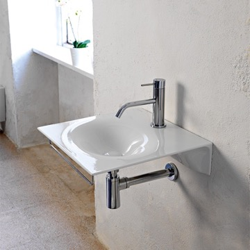 Ultra Thin White Ceramic Wall Mounted Sink With Chrome Towel Bar