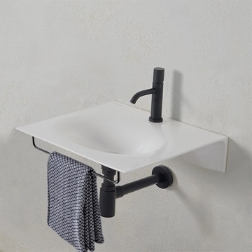 Ultra Thin White Ceramic Wall Mounted Sink With Black Towel Bar