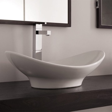 Oval-Shaped White Ceramic Vessel Sink