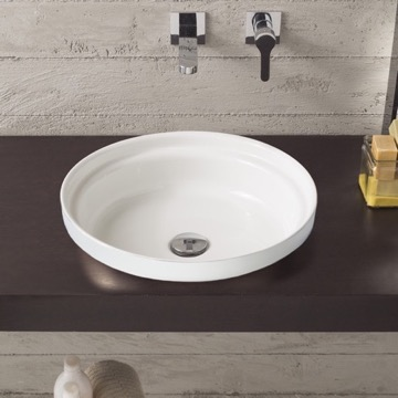Round White Ceramic Self Rimming Sink