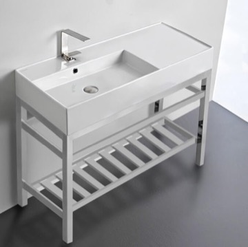Modern Ceramic Console Sink With Counter Space and Chrome Base