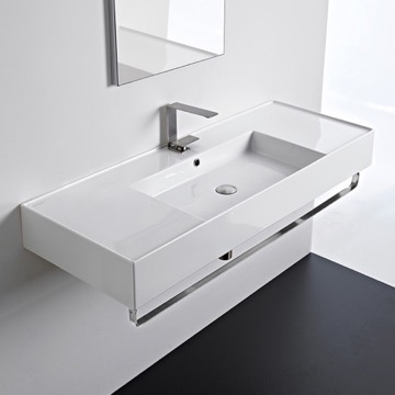 Rectangular Ceramic Wall Mounted Sink With Counter Space, Includes Towel Bar