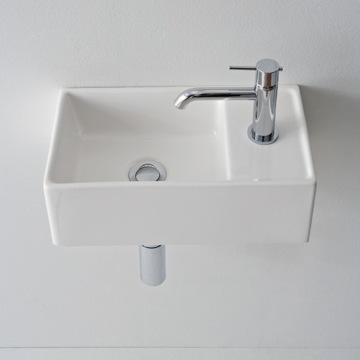 Bathroom Sink Square White Ceramic Wall Mounted or Vessel Sink 8031/R-41 Scarabeo 8031/R-41
