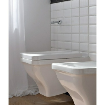 Round White Ceramic Wall Mounted Toilet