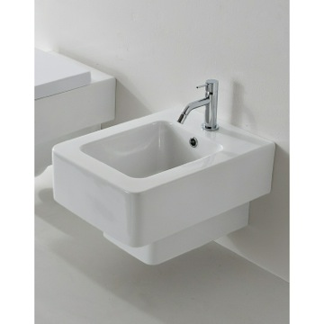 Square White Ceramic Wall Mounted Round Bidet